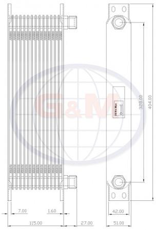UNIVERSAL chladič oleje rozteč vývody centr 325 mm
